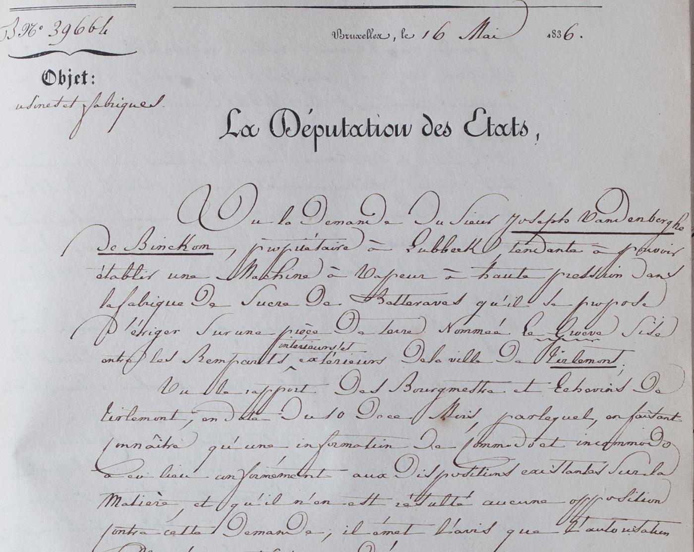 Tiense Suiker Handtekening 1836 S